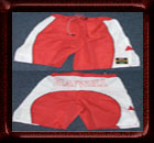 Mixed Martial Arts Fight Shorts - Block Pattern - Red / White