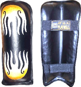 Leather Black Firepower Shin Guards